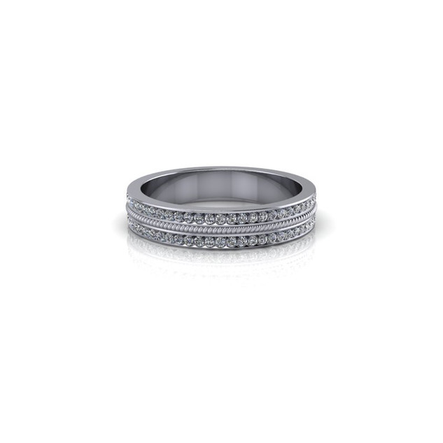 PLATINUM 2 ROW DIAMOND BAND