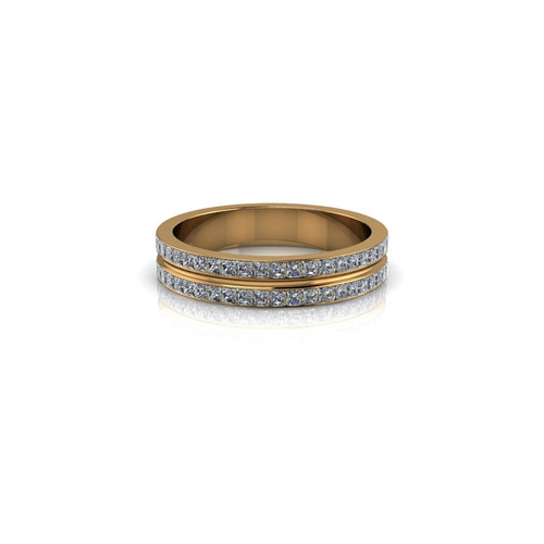 YELLOW GOLD 2 ROW DIAMOND BAND