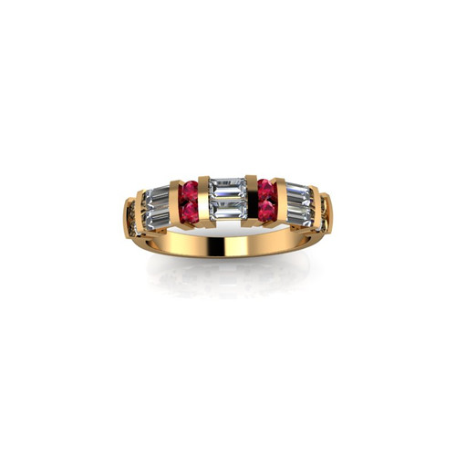 BAR SET YELLOW GOLD DIAMOND AND RUBY BAND