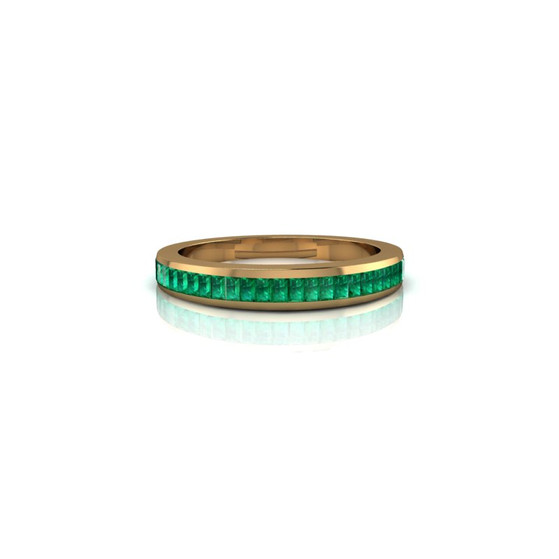 CHANNEL-SET EMERALD BAND RING