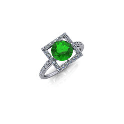 SQUARE HALO EMERALD RING