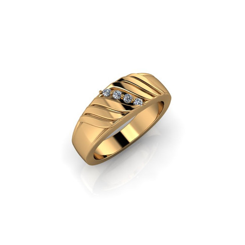 YELLOW GOLD FOUR STONE BAND