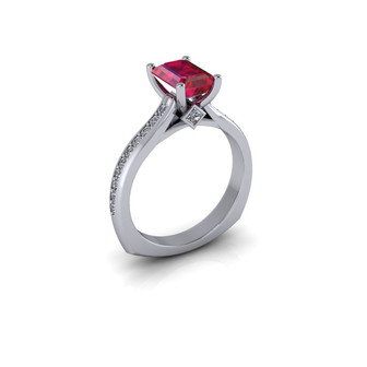 CLASSIC EMERALD CUT RUBY SOLITAIRE RING