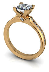 princess cut comtemporary custom engagement ring in gold