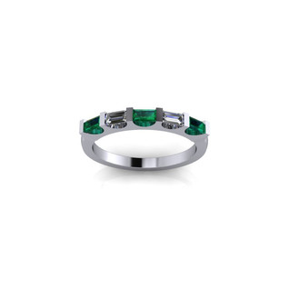 EMERALD AND DIAMOND BAGUETTE ETERNITY BAND