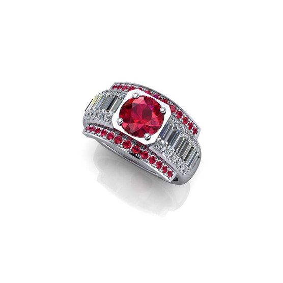 RUBY AND DIAMOND BAGUETTE AND PAVE RING