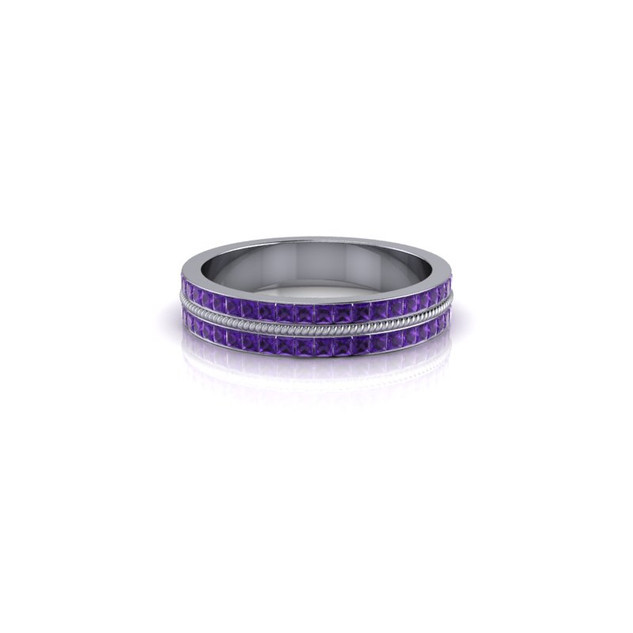 WHITE GOLD 2 ROW AMETHYST BAND