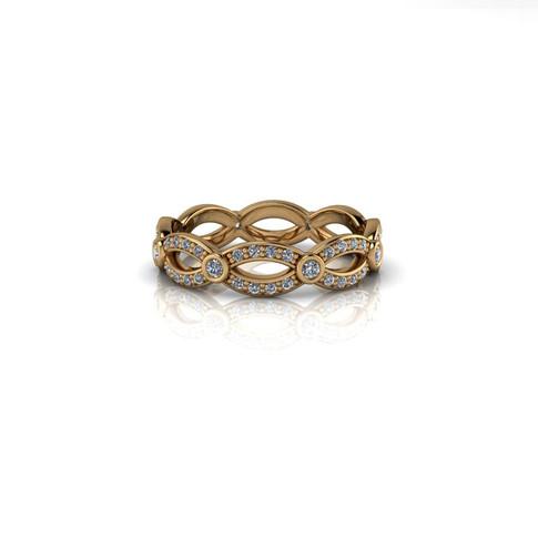 TWISTED YELLOW GOLD DIAMOND BAND
