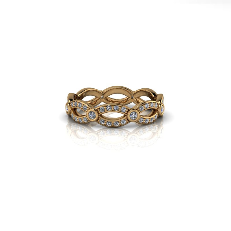 TWISTED YELLOW GOLD DIAMOND BAND