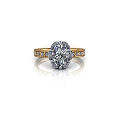 SPLIT HALO OVAL DIAMOND RING