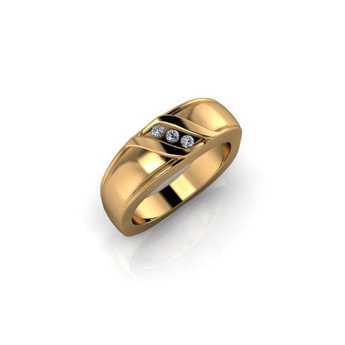 YELLOW GOLD THREE STONE BAND