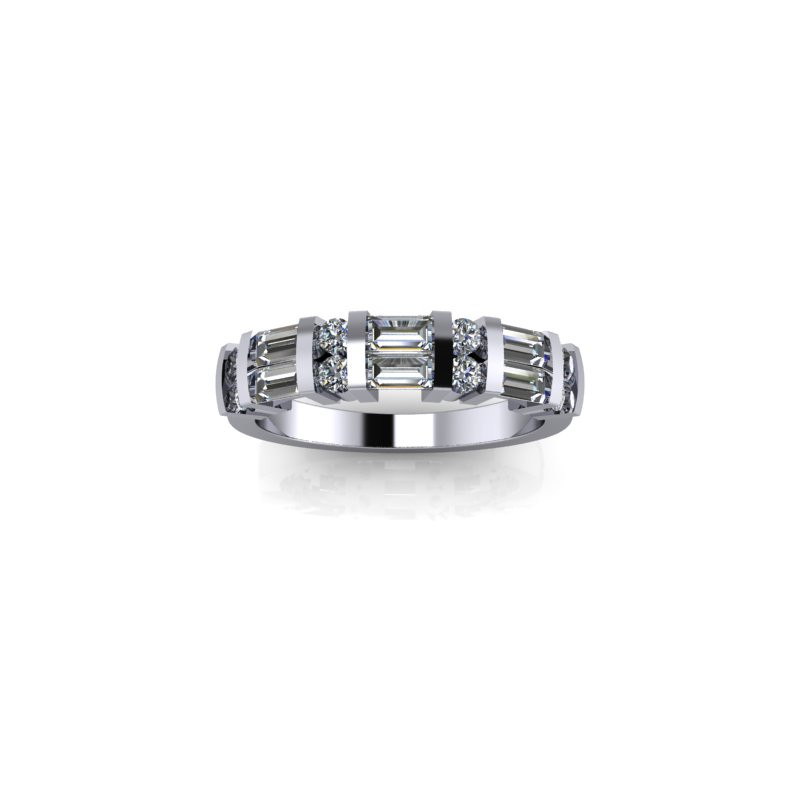 BAR SET WHITE GOLD DIAMOND BAND