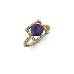 SQUARE HALO AMETHYST RING