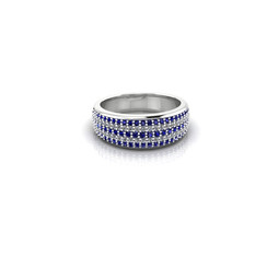 PAVE DIAMOND AND SAPPHIRE BAND RING