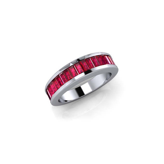 WHITE GOLD RUBY WEDDING BAND