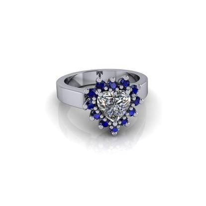 DIAMOND AND SAPPHIRE HEART RING