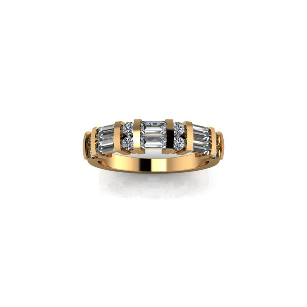 BAR SET YELLOW GOLD DIAMOND BAND