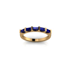 EMERALD AND SAPPHIRE BAGUETTE ETERNITY BAND