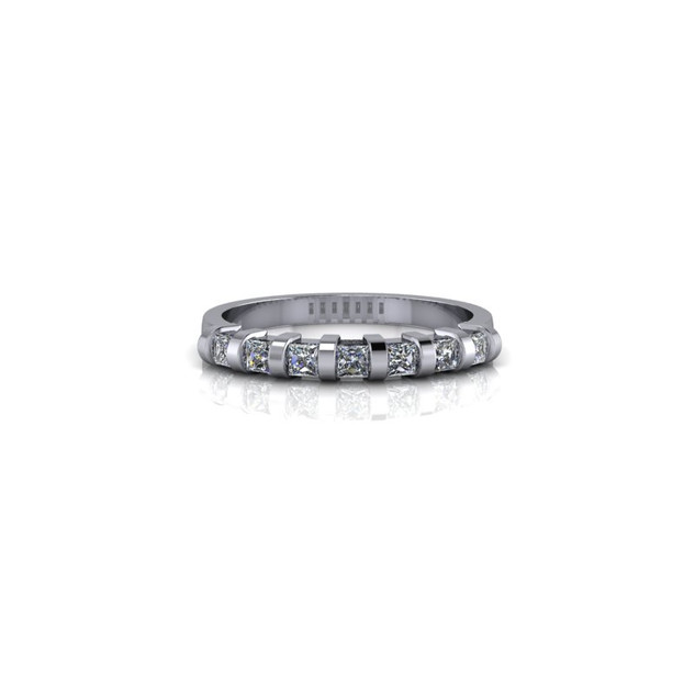 PLATINUM BAR SET PRINCESS WEDDING RING