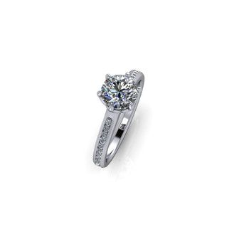 CLASSIC PAVE SOLITAIRE RING