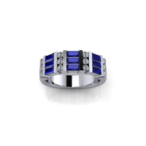 SAPPHIRE AND DIAMOND ETERNITY BAND RING