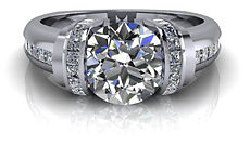 Glamourous brilliant round will begets custom engagement ring