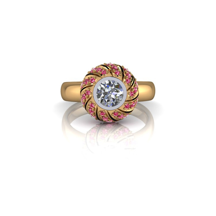 WHITE AND PINK YELLOW GOLD RING