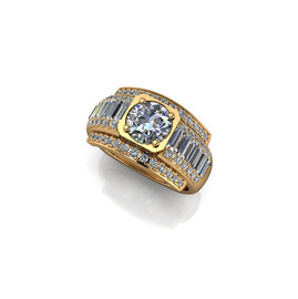 DIAMOND BAGUETTE AND PAVE RING