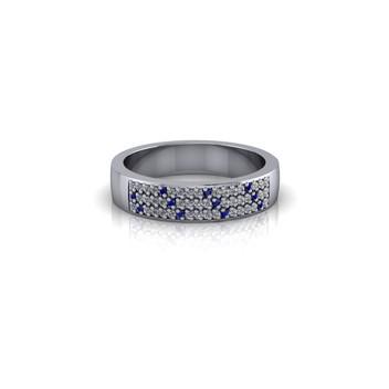 PAVE SET DIAMOND AND SAPPHIRE WEDDING BAND