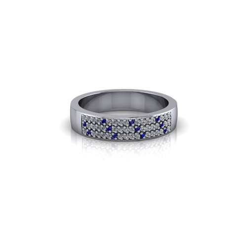 PAVE SET DIAMOND AND SAPPHIRE WEDDING BAND