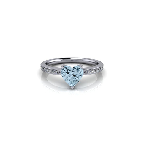 AQUAMARINE HEART SHAPED SOLITAIRE RING