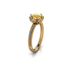 SIX-PRONG-SET ROUND YELLOW SOLITAIRE RING