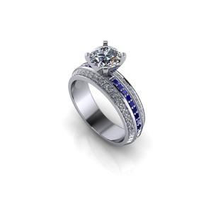 PAVE DIAMOND AND SAPPHIRE  RING