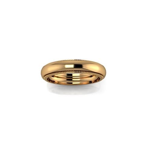 YELLOW GOLD MILGRAIN BAND RING