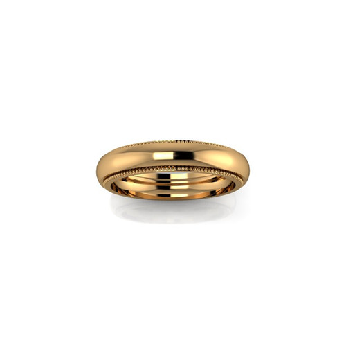 YELLOW GOLD MILGRAIN BAND RING