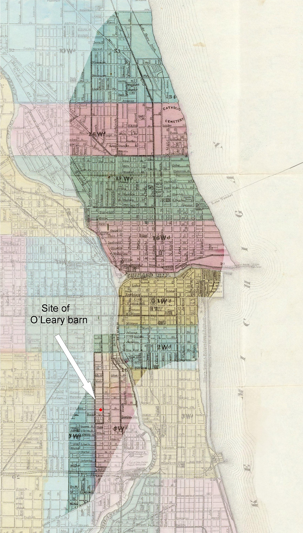 Map of Chicago in 1871 showing the extent of the fire.