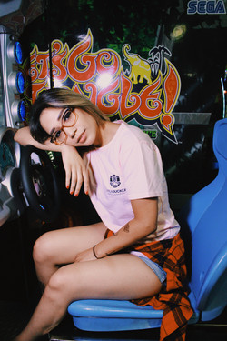 Model wearing pink Lafeaduckling Photography tee