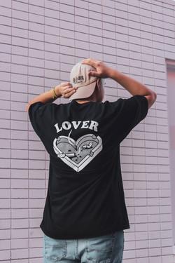 Model wearing Lover tee in black