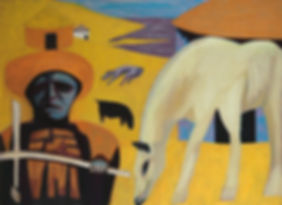 figurative, oil painting, original art, ethnic culture, Africa, xhosa, initiation, ceremony, white horse, woman, ritual, yellow. pastel colours