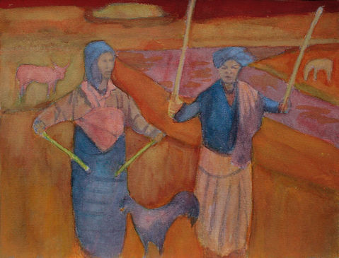 watercolour, figures in landscape, original art, painting, women, dance, cockerel, lagoon