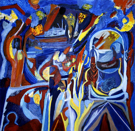 eugene power_geometric_dynamic_colourful_painting_expressionist_blue_red_yellow_journey
