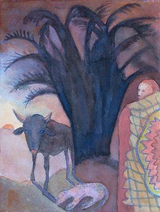 figurative, watercolour, painting, original art, ethnic culture, Africa, xhosa, initiation, ceremony, sunrise, bull.