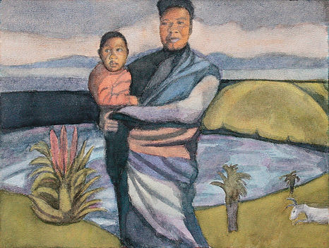 eugenepower_original art_watercolour_mother and child_South Africa_Xhosa