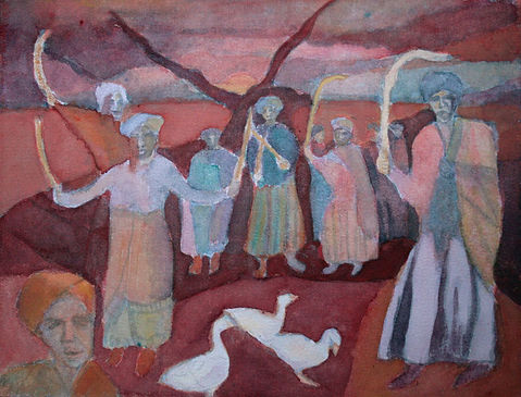 initiation dance, women, ritual, painting, original art, watercolour, south africa, landscape, figurative, animals, geese