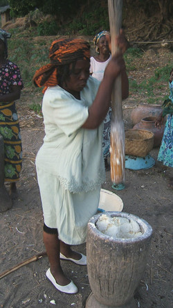 Pounding Cassava