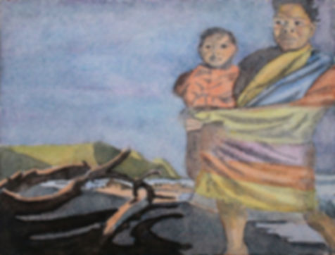Mother & Child, beach, wild coast, south africa, xhosa, eastern cape, watercolour, painting, figurative, origibnal art,