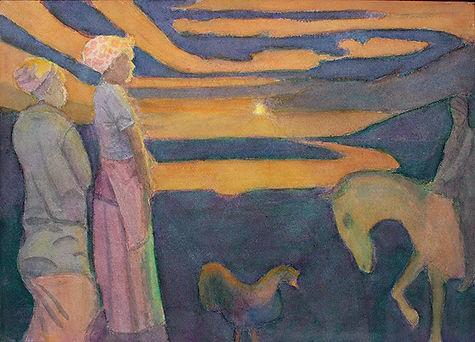 south africa, watercolour, painting, original art, sunrise, cockerel, horse, figurative, landscape