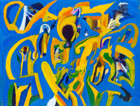 eugene power_painting_bright_dynamic_movement_expressionist_surrealist_colourful_african_spiritua;_religion_blue_yellow