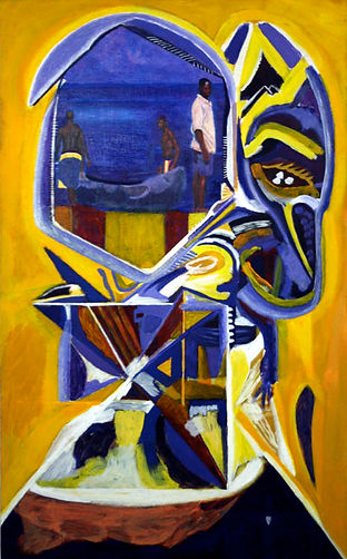 Eugene Power_African_ colourful_ surrealist_ yellow_ blue_expressionist_egyptian_journey_right of passage_alchemy_magic_ cycles_figures_figurative