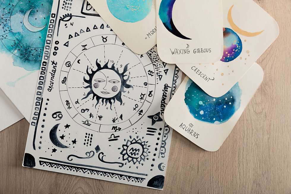 Top view of birth chart and cards with z